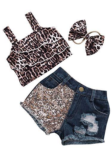 Mono completo de verano para bebé, 3 piezas, con diseño de leopardo, tirantes + pantalones cortos con lentejuelas cortas + banda con lazo de leopardo, para fiesta de 0 – 3 años marrón 11-12 años