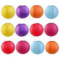 12 pcs colorido bordes redondeados Linternas de papel Decoración para Boda, Fiesta, Cumpleaños, Navidad, Halloween, Pascua, Diwali, Hogmanay, chino año nuevo etc