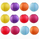 12 lanterne decorative di carta, 20,32 cm, colorate, tonde