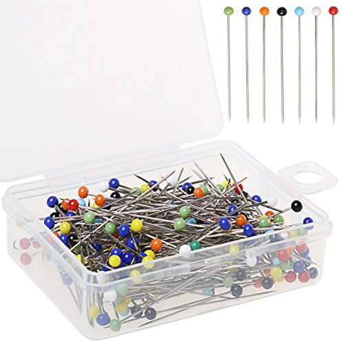 Color Scissor 250 Pieces Sewing Pins 38mm Ball Glass Head Pins Straight Quilting Pins for Fabric,Dressmaker Jewelry Decoration