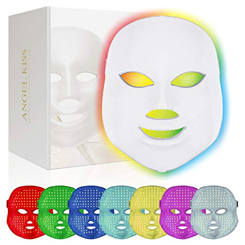 Face Led Mask -Angel Kiss 7 Color Blue Red Light Therapy Photon Mask Facial Skin Rejuvenation...