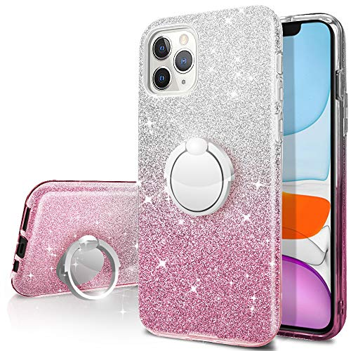 iPhone 11 Pro Max Case,Silverback Girls Bling Glitter Sparkle Cute Phone Case with 360 Rotating Ring Stand, Soft TPU Outer Cover + Hard PC Inner Shell Skin for Apple iPhone iPhone 11 Pro Max -Pink