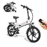 SAMEBIKE Ruota da 20 Pollici 350W Bici elettrica 48V 10.4AH Batteria al Litio con Telecomando Pieghevole Bicicletta elettrica per Adulti (Bianco)