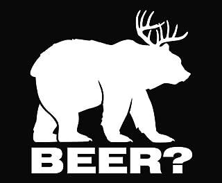 KCD264 Bear plus Deer equals BEER Vinyl Die Cut Decal Sticker|White|Cooler Fridge Cars Trucks Vans Walls Toolbox Laptop |5 In Decal | KCD264