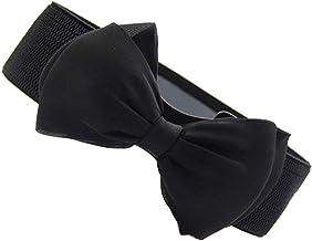 Electomania® Girls and Women's Belt Fashion Bowknot Design Waist Belt Chic Elastic Stretch Waist Band (Black)