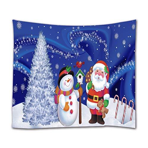 A.Monamour Tapices de Pared Cute Dibujos Animados Muñeco De Nieve Santa Claus Pino Árbol Navidad Decoración Navideña Tela Textil Tapiz Tapiz Cortinas Mantel Colcha Toalla De Playa 102x153cm