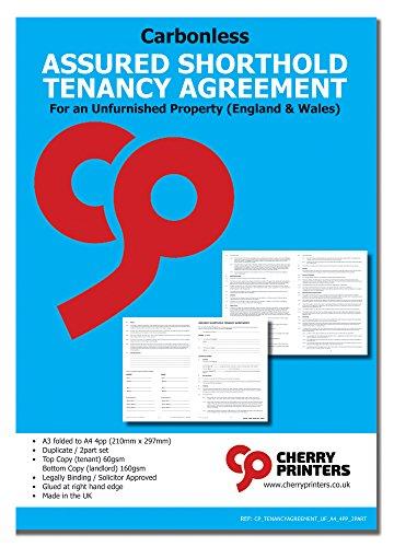 Cherry Assured Shorthold Mietvertrag für Unreserviertes Eigentum (England & Wales) selbstdurchschreibendes NCR Duplikat-Set, 2-teilig, A4, 4 Seiten