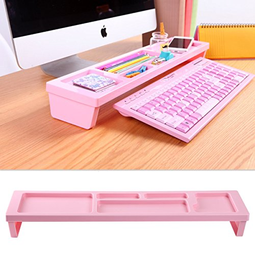 KOSOX Board Desktop Organizer Rack Office Supply Holder/Office Computer Desk Supply Caddy Tray/Anti Dust Shelf Over Keyboard (for Papers, Pens, Phones, Snacks), Pink