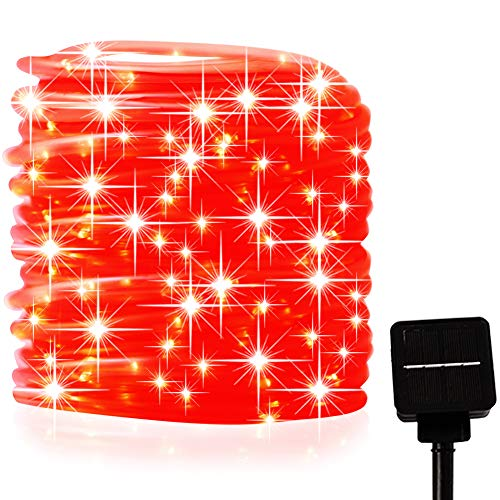 picK-me Luces de Cuerda Solar, Impermeable al Aire Libre 200 LED 66 FT / 20 M, Luces de hadas, Tubo de Luz de PVC para La Fiesta de Boda del Arbol de La Cerca del Jardín (Rojo, 20M)