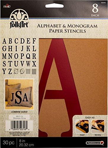 Plaid Pochoir en papier Motif alphabet et monogramme 20,3 cm