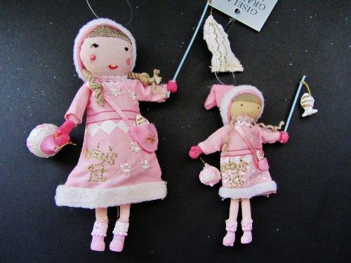 Gisela Graham - Babies / Baby Girl 1st Christmas Hanging Tree Decorations - Set of 2