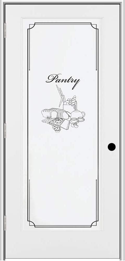 National Door Company Z009314R Primed MDF 1 Lite Frosted Glass with Pantry Design, Right Hand Prehung Interior Door, 30