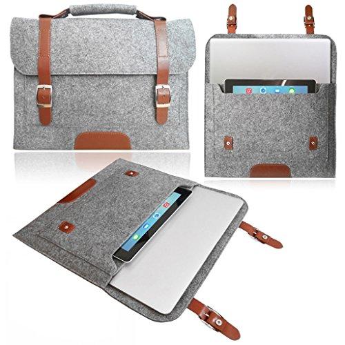 StyleBitz, color Gris claro/Funda para ordenador portátil de 13,3 ', diseño de fieltro de 13'/Duragadget-Funda con asa para Asus Zenbook UX302LA 5 trapos de limpieza StyleBitz