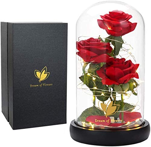 Beauty and the Beast rose silk rose with LED lights and falling petals glass dome wooden base product image