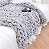 Twomissone Luxury Chunky Knit Chenille Bed Blanket Large Knitted Throw Blanket Warm Soft Cozy Bulky Blankets for Cuddling up in Bed, on The Couch or Sofa (50'x60') (Grey02, 50x60)