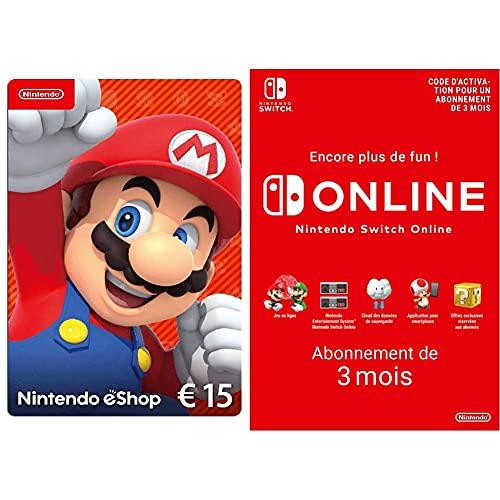 Carte Nintendo eShop 15 EUR (Code de téléchargement) + Nintendo Switch Online - Abonnement 3 Mois (Code de téléchargement)