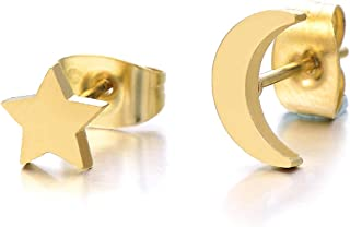Pair Gold Color Moon and Star Stainless Steel Plain Stud Earrings for Women and