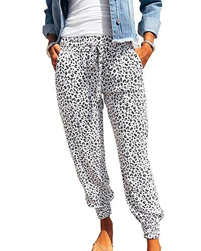 Uusollecy Damen Hose Haremshose Leoparden Casual Jogginghose Elastische Taille mit Kordelzug Sporthose