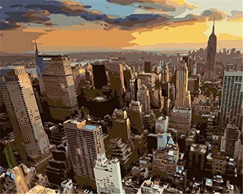 Pintura por números lienzo para adultos lienzo Diy pintura para niños adultos principiante paisaje arquitectónico de la ciudad de Nueva York