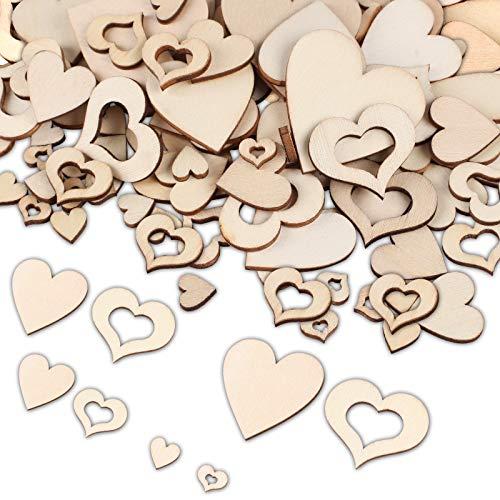 Holzherzen, 400 Stück Herz Holz Scheiben Holzscheiben Deko zum Basteln, Verschiedene Größen Holzherz Dekoration Streu Deko Tischdeko Verzierungen für DIY Handwerk Hochzeit Weihnachten