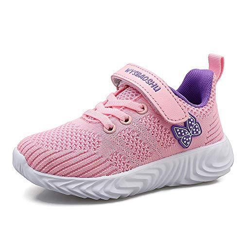 Youecci Kinder Schuhe Sportschuhe Ultraleicht Atmungsaktiv Turnschuhe Klettverschluss Low-Top Sneakers Laufen Schuhe Laufschuhe für Mädchen Jungen 3 Pink 33 EU