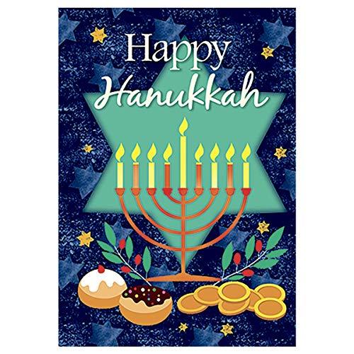 Double Sided Yard Flag Happy Hanukkah Garden Flag Banner for Patio Lawn Home Outdoor Decor 28'x40'