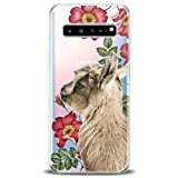 Cavka TPU Cover for Samsung Galaxy Case Note 10 Plus 5G S10 S10e S9 S8 S7 Cute Clear Floral Phone Soft Print Baby Animals Teen Gift Girl Lightweight Goat Flexible Silicone Slim fit Pet Kawaii Design