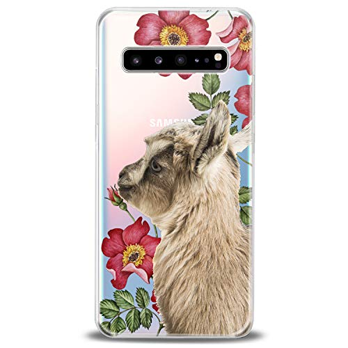 Cavka TPU Cover for Samsung Galaxy Case S20 Note 10 Plus 5G S10e S9 S8 S7 Cute Clear Floral Phone Soft Print Baby Animals Teen Girl Lightweight Goat Flexible Silicone Slim fit Pet Kawaii Design