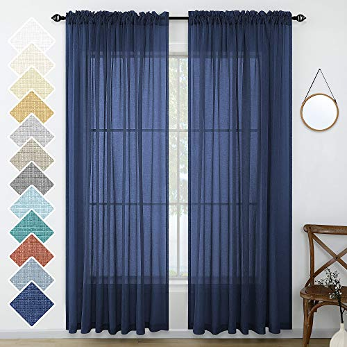 Navy Blue Window Curtains 96 Inches Long 2 Panel Set Rod Pocket Woven Textured Linen Look Voile Sheer Drapes for Living Room Village Apartment Cabin Garden Canopy Family Room Home Decor 52 Inch Width