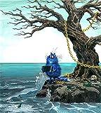 PAINTWERT Pintura Digital Grasa Azul Gato Pintura Abstracta acordeón Pintura DIY por Números Niños Modernos Arte de la Pared Imagen de acrílico Pintado a Mano Regalo de los niños 50x70cm