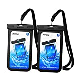 (Black) - Mpow Universal Waterproof Case, New Type PVC Waterproof Pouch for Outdoor Sports with IPX8 Certified for iPhone, Samsung, Google Pixel, HTC, LG, Huawei [2-PACK]