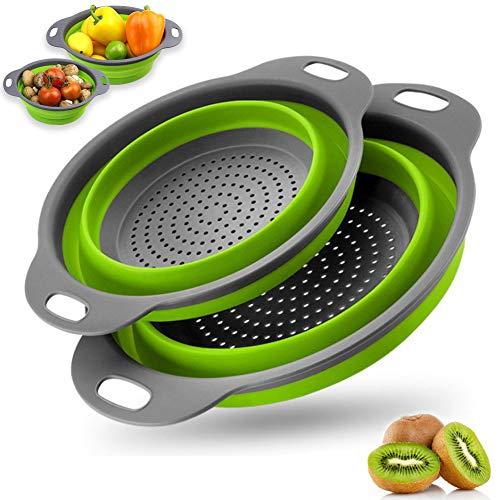 Coladores Cocina,2pcs colador plegable silicona filtro,ahorra espacio,para espaguetis,brócoli, ensalada,vegetales y frutas,etc(Verde)