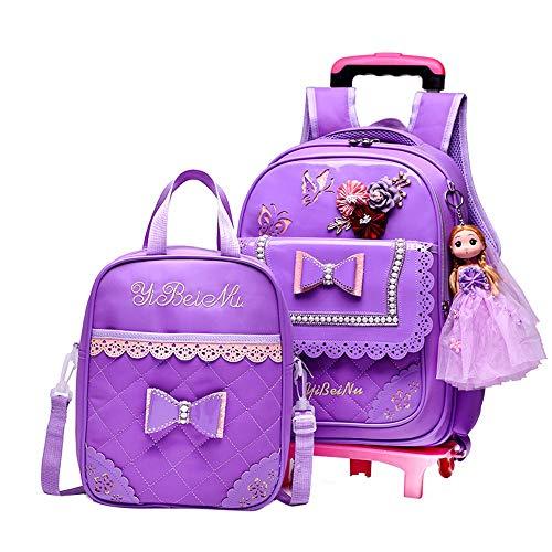 Caki Sweigo 2PCS Cute Princess Style Backpack Primary BookBag Elementary Daypack Outdoor Travel Luggage Rucksack with Handbag for Girls