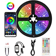 Color Strip Lights,SMD 5050 RGB LED Strip Lights, 16 Million Colors Rope Lights with Phone App Controlled, Waterproof Music Strip Lights for TV, Home, Kitchen, Party, for iOS and Android,13.2ft