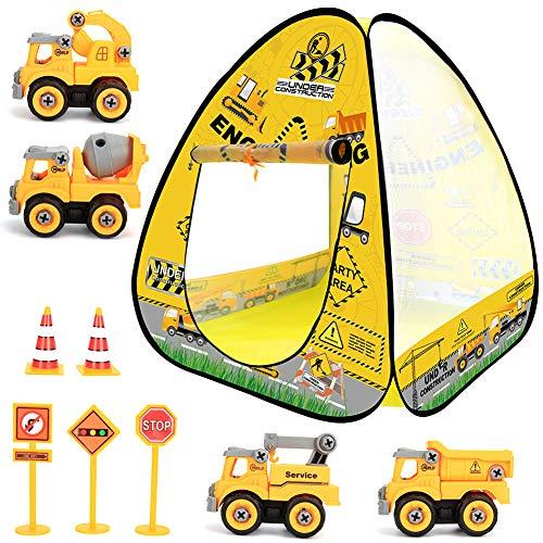 Kids Tent Toys Set 10pcs- Kids Play Tent Pop Up Tent with Construction Vehicle Trucks Toys Set...