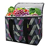 insulated bags - Cooler Bag for Shopping Insulated Zipper Grocery Bag for Hot Cold Frozen Food Transport Thermal Tote Grocery Bag XL Food Delivery Bag Heavy Duty Stands Upright Long Handles