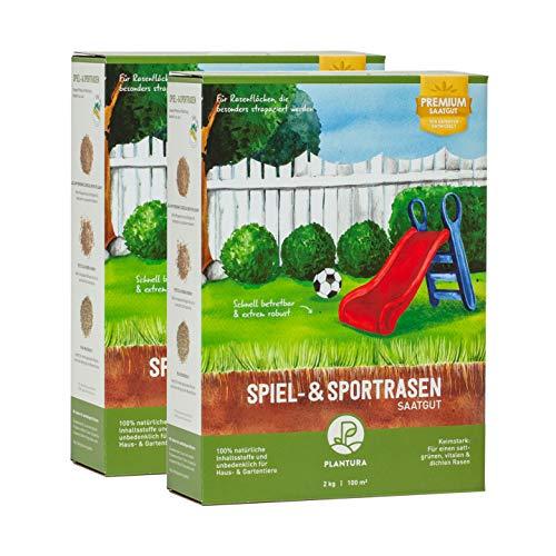 Plantura Spiel- & Sportrasen, 4 kg, strapazierfähiger Rasen für Kinder & Haustiere, Premium-Saatgut