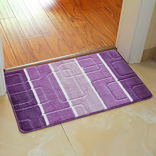 FEIYING Teppichboden Aus Polypropylen, Teppich Aus Jacquard Für Den Haushalt, rutschfeste Badmatte(Color:lila,Size:50 * 80)