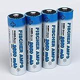 Fischer Amps 2850mAh Akku AA Mignon - 4× NiMH Wiederaufladbare Batterien mit 1,2V - Akkus für Geräte mit hohem Stromverbrauch - Akkubatterien