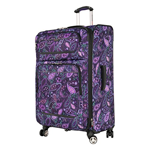 Ricardo Beverly Hills Mar Vista Softside Expandable Luggage with Dual Spinner Wheels, Purple Paisley, Checked-Large 28-Inch