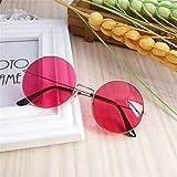 QSLS 1 pc Retro Gafas de Sol Redondas Mujeres Sun vidrios de la Lente Gafas de Sol Femeninas aleación Eyewear Frame Conductor Gafas de Accesorios del Coche (Color : Red)