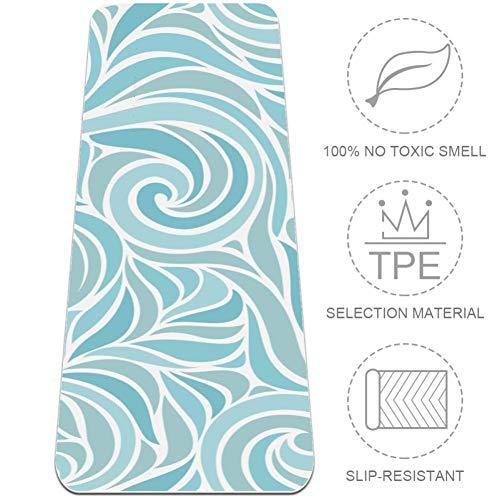 HANDIYA blauwe bloem behang yoga mat, niet slip-oefening mat gemaakt van premium materiaal niet-giftige hoge prestaties Grip,24x72 in-61x297 cm.