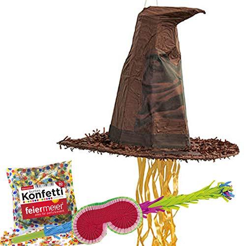 feiermeier® Pinata-Set: Harry Potter Hut Schläger Maske Konfetti bunt Kindergeburtstag Zauberlehrling Gryffindor Hufflepuff slytherine