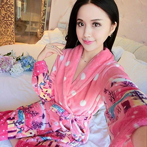 IXIIXI Bademäntel Coral Nightwear Herbst Winter Warme Nachtwäsche Intime Dessous Heimtextilien Flanell Langarm Homewear, Style O, L