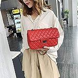 Mdsfe Elegante Bolso de diseñador 2020 Corea Estilo Cadena Crossbody Bolsos para Mujer Nueva Calidad de la Moda Bolso de Mensajero de Cuero de PU - PU Big Red