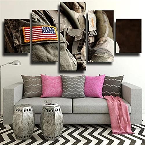 ARIE 5 TLG Kunst Auf Leinwand Uniform Amerikanische Flagge Der Soldat-Armee Wandbilder Wohnkultur Wohnzimmer Poster Fresko Leinwand Weihnachten Kreative Geschenke