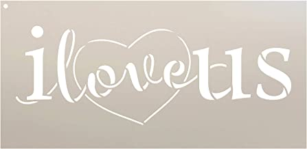 Love Us Stencil with Heart by StudioR12 | Reusable Mylar Template | Use for Painting Signs on Pallets, Wood and Pillows - DIY Home Decor, Weddings, Valentine, Romance - Choose Size (14.5
