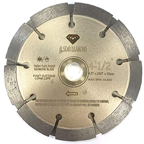 ALSKAR DIAMOND ADKST 4-1/2 inch Standard Twin Tuck Point Blade Sintered Diffusion Bonded Dry or Wet Cutting for Mortar and Concrete (4-1/2