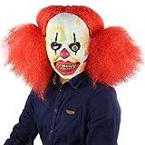 Rcsinway Trenzas Rojas de Halloween Cosplay de Horror Máscara Divertida de la Boca de Payaso Christmas Room Escape de casa encantada de Halloween máscara de látex de Terror Fantasma (Color : Red)