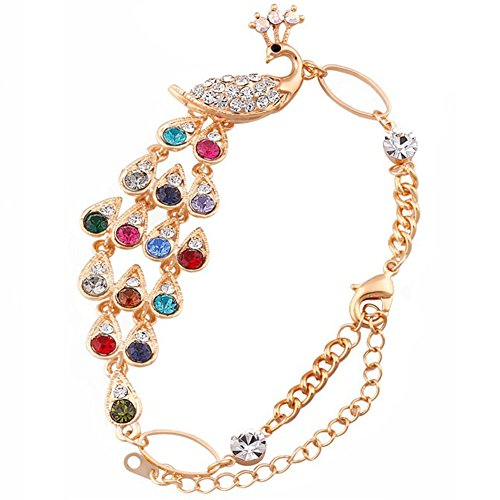 JewelryWe Schmuck Damen Bunte Kristall Pfau Armreif Armband Jahrestag Party Farbe Gold
